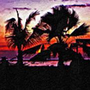 Bali Sunset Impasto Paint Version Poster