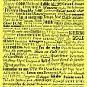 Ballet Terms Black On Yellow Poster