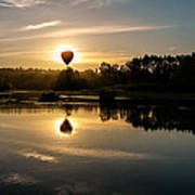 Balloon Over Snohomish River Poster