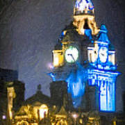 Balmoral Clock Tower On Princes Street In Edinburgh Poster