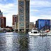 Baltimore Inner Harbor Marina Poster by Olivier Le Queinec