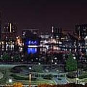 Baltimore Inner Harbor Skyline Night Panorama Poster