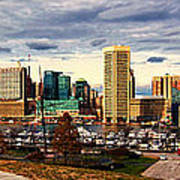 Baltimore Inner Harbor Skyline Panorama Poster