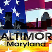 Baltimore Md Patriotic Large Cityscape Poster