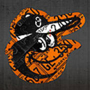 Baltimore Orioles Vintage Baseball Logo License Plate Art Poster