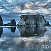 Bandon Beach Sunset Reflections Poster