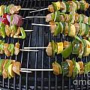 Barbeque Kabobs On Grill Poster