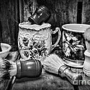 Barber - Shaving Mugs And Brushes In Black And White Poster