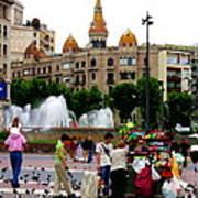 Barcelona - Abstract - Plaza De Catalunia Poster