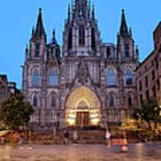 Barcelona Cathedral In The Evening Poster