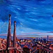 Barcelona City View And Sagrada Familia Poster