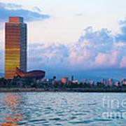 Barcelona Skyline From Sea Poster