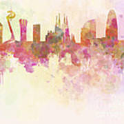 Barcelona Skyline In Watercolour Background  Poster