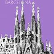 Barcelona Skyline La Sagrada Familia - Violet Poster