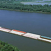 Barge In A River, Mississippi River Poster