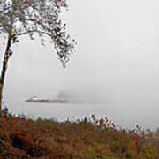 Barge In Fog On Ohio River Poster