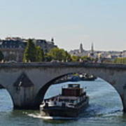 Barge On River Seine Poster
