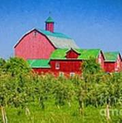Barn And Apple Orchard Poster