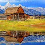 Barn And Teton Reflections. Poster