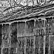 Barn Ghost Sign In Bw Poster