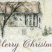 Barn In Snow Christmas Card Poster