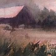 Barn In The Fog Poster
