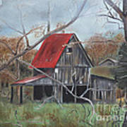 Barn - Red Roof - Autumn Poster