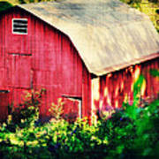 Barn Red Sunset Poster