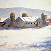 Barns In Blue  Poster