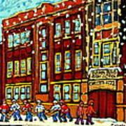 Baron Byng High School St Urbain Street Hockey Montreal Winter Scene Carole Spandau Montreal Artist Poster