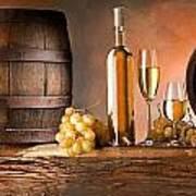 Barrels Grapes Poster