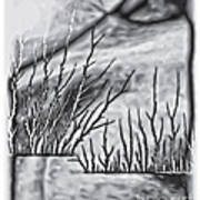 Abstract Trees On Barren Landscape Poster