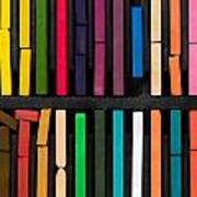 Bars Of Bright And Colorful Pastel On Black Background Poster