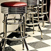 Barstools Of Vintage Roadside Diner Poster by Phillip Rubino