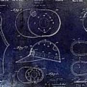 Baseball Patent Blue Poster