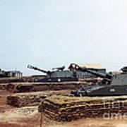 Base Camp Artillery Guns Self-propelled Howitzer M109 Camp Enari Central Highlands Vietnam 1969 Poster