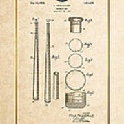 Baseball Bat By Lloyd Middlekauff - Vintage Patent Document Poster
