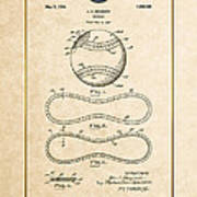 Baseball By John E. Maynard - Vintage Patent Document Poster