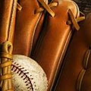 Baseball Glove And Baseball Poster