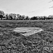 Baseball - Home Plate - Black And White Poster by Paul Ward