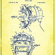 Baseball Mask Patent Yellow Us2627602 A Poster