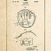 Baseball Mitt By Archibald J. Turner - Vintage Patent Document Poster
