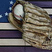 Baseball Mitt On American Flag Folk Art Poster
