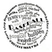 Baseball Terms Typography Black And White Poster