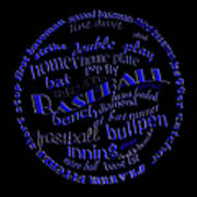 Baseball Terms Typography Blue On Black Poster