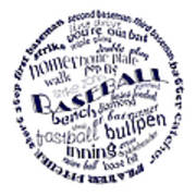 Baseball Terms Typography Blue On White Poster