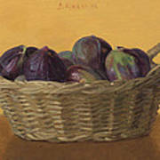 Basket Filled With Figs Poster
