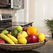 Basket Of Fresh Fruit In Modern Kitchen Poster