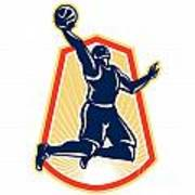 Basketball Player Dunk Rebound Ball Retro Poster