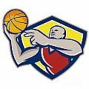 Basketball Player Laying Up Ball Retro Poster